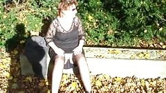 Mature wife outdoor upskirt show