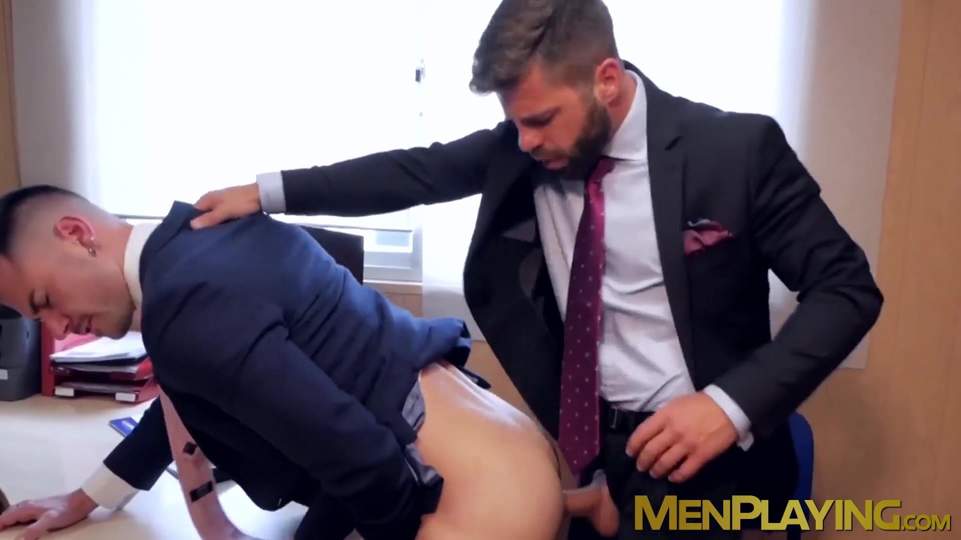 Sizzling stud in elegant jacket slamming coworkers tight ass