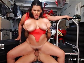 Busty Angelina Castro Fucks & takes Cumshot In Bike Garage!
