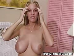 Busty amateur Mary masturbates after an interview