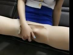 asian girl show her asserts while watching porn on mobile