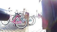 Bikini Teen Nice Ass Unlocking Her Bike