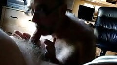 Hairy grandpa swallows other grandpa