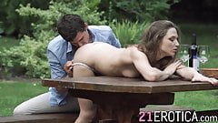Sensual teen enjoys being ass fucked by her man outdoors