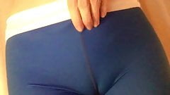 Slut showing off her petite body, bush and pussy in leggings