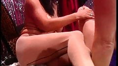 2 smoking hot chicks wearing pantyhose and fondling each other