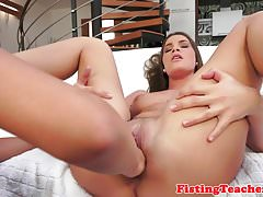 Gorgeous busty euro fisted on all fours