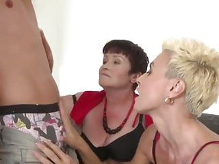 Three lusty matures sharing a hung stud