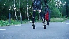 Dressed in leather for outdoor gangbang