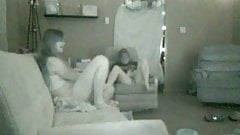 Hidden Lesbians masturbate then play with each other