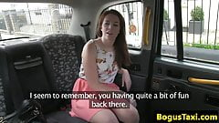 Deepthroating taxi brit squirting in the cab