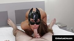 Hot Kimber Lee Covers Her Cat Mask With A Load Of Cum!