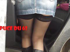 No panties miniskirt and black stockings Thumbnail