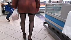 Black stockings upskirt in supermarket