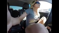 squirting blonde on car