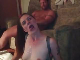 Slutwife gets cum from 2 cocks on her tits, cleans them off.
