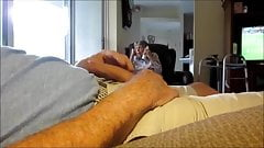 Stroking In Front Of Grandma