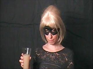 Cute blonde drinks a wine glass full of cum tmb