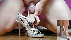 Wife's new silver strappy sandals , first time fuck and cum