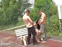 Amateur skinny french slut fucked in 3some on a tennis court