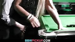 BBW in nylons getting fucked on the pool table