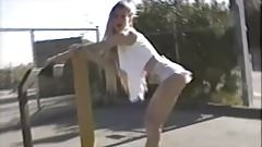Hot girl strips while rollerblading flash in public