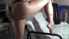 Sexy mature wife shows her feet and big hot ass