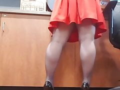Dirty amateur wife at work up skirt stockings and heels