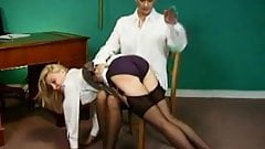 Secretary spanked over the knee in stockings by female boss