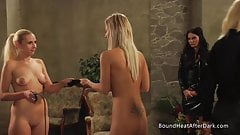 Busty Blonde Lesbian Slaves Playing For Mistress's Panties
