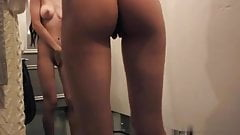 in a changing room