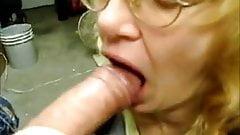 granny gets cumshot on tongue