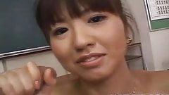 Misato Kuninaka is fucked with sex toys before double teamin