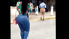 Huge booty in blue pants. Ebony booty