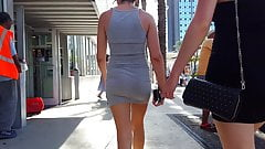 Candid voyeur tight dress hot booty girl shopping