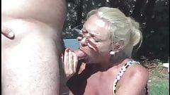 Blonde mature enjoys  threesome