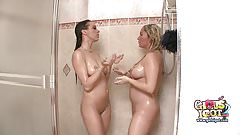 Big boob pregnant blonde showers together with college bff