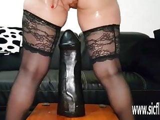 Colossal dildo fucking amateur wife Sarah