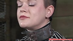 Chained bdsm sub toyed by her maledom
