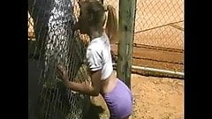 Blowjob through a fence