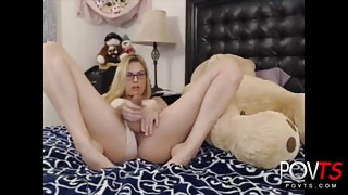 Sexy blonde shemale playing online
