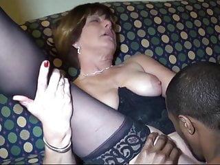 Mature Slut In Black Stocking Takes Black Cock