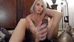 Blonde footjob & handjob combo