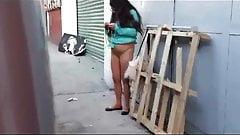 spy ugly bitch in street