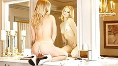 Blonde model likes herself