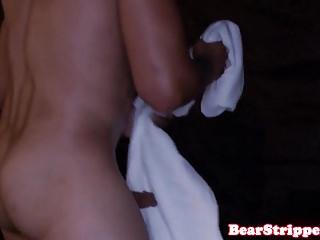 Slutty babes sucking cream off strippers cock