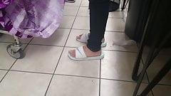 Sandals at laundromat