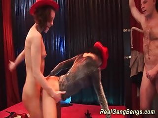 Preview 2 of horny german gangbang party chicks