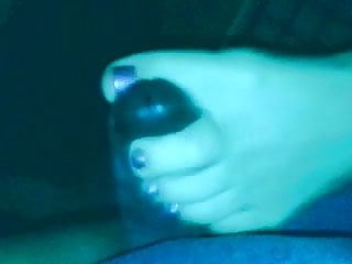 Size 12's toejob stroke before footjob