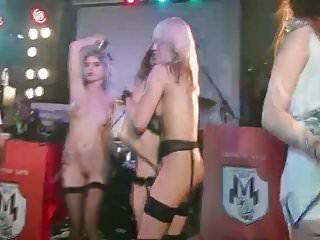 korrozia metalla rock concert stage 3 girls nude striptease